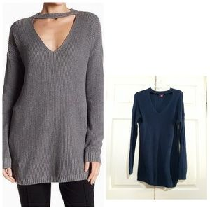 Vince Camuto | V-neck cutout tunic sweater M